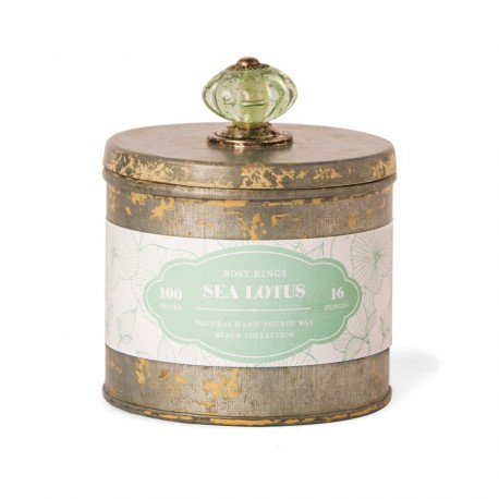 Rosy Rings Candles - Beach Tins Collection - Sea Lotus